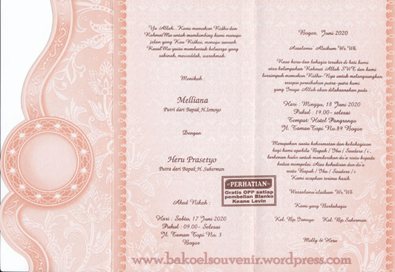 Undangan Pernikahan >> KL 328 | Bakoel Souvenir >> Menjual